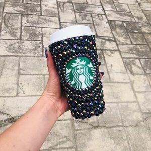 Black pearl bling Starbucks reusable hot cup